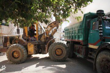 رفع الركام وفتح الطرقات من خلال دعم البلديات
